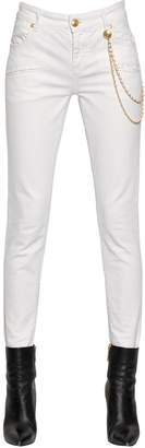 Pierre Balmain Slim Fit Cotton Denim Jeans W/ Chains