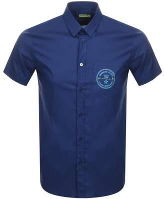 Versace Short Sleeved Slim Fit Shirt Blue