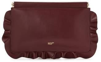 Redv RedV Rock Ruffles Burgundy Leather Clutch