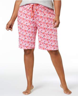 Hue Plus Size House-Print Bermuda Pajama Shorts