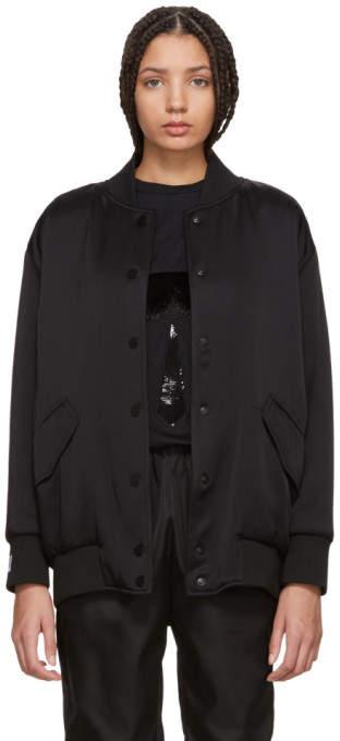 Black Pearls Bow Back Bomber Jacket