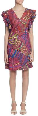 Catherine Malandrino Sandrine Printed Flutter-Sleeve Dress