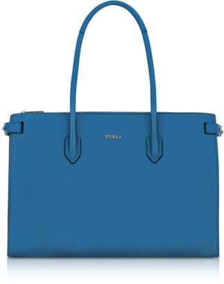Furla Genziana Blue Leather E/W Pin Medium Tote Bag
