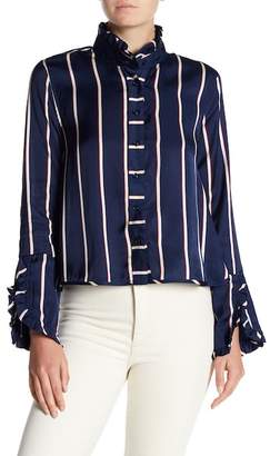 Romeo & Juliet Couture Striped Ruffle Neck Shirt