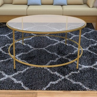 Mercer41 Ducharme Round Metal Framed Coffee Table with Tray Top Mercer41