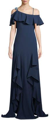 Zac Posen Adie Asymmetric Draped Ruffle Gown