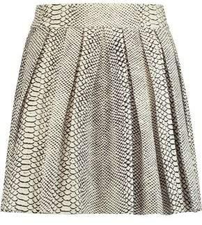 Alice + Olivia Dara Pleated Snake-Effect Leather Mini Skirt
