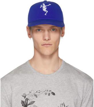 Alexander McQueen Blue Dancing Skeleton Cap