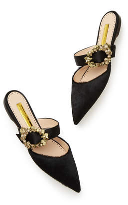 Rupert Sanderson Gem Crystal Pebble Strap Flat Shoe