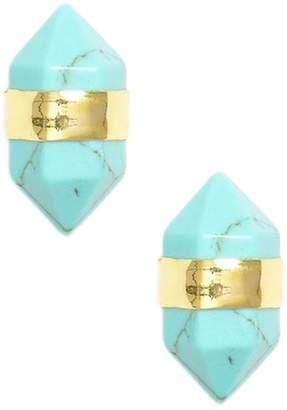 Sterling Forever 14K Gold Plated Banded Aqua Stud Earrings