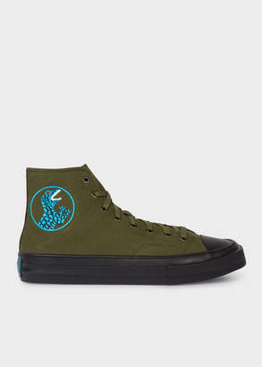 Paul Smith Men's Khaki Canvas 'Kirk' Trainers With 'Dino' Embroidery