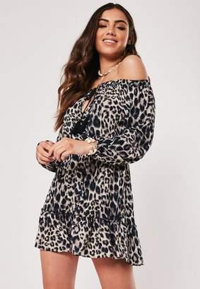 Missguided Brown Leopard Print Bardot Tassel Skater Dress