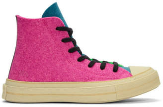 J.W.Anderson Pink and Green Converse Edition Felt Chuck 70 Hi Sneakers