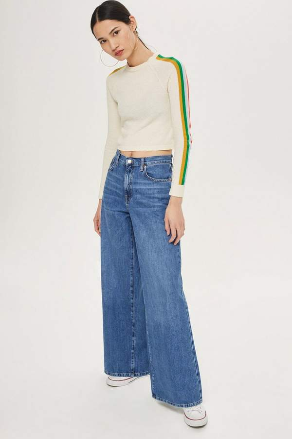 Topshop PETITE Ligh Blue Wide Leg Jeans
