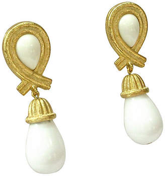 One Kings Lane Vintage Givenchy Gold Milk Glass Drop Earrings