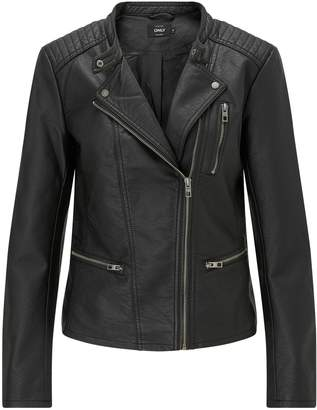 Next Only Womens Faux Leather Biker Jacket Black 6
