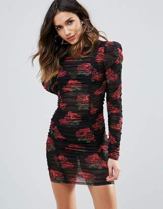 Wow Couture All Over Ruched Mini Bodycon Dress In Rose Floral Print