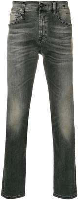 R 13 stonewashed slim fit jeans