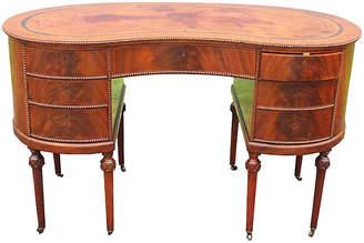One Kings Lane Vintage Flame Mahogany Kidney-Shaped Desk - Something Vintage