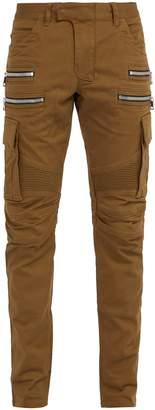 Balmain Biker-style cotton-blend cargo trousers