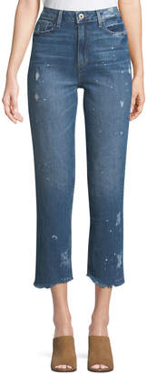 Paige Sarah High-Rise Straight-Leg Crop Jeans with Fray Hem