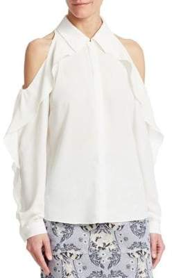Zac Posen Ruffled Crepe Blouse