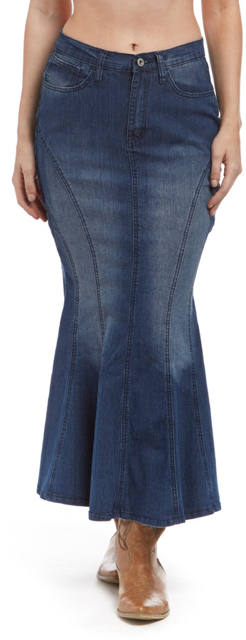 Indigo Distressed Flared Denim Maxi Skirt
