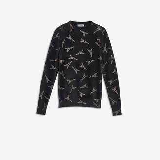 Balenciaga Eiffel Tower Crewneck in strassed velvet knit