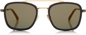 Jimmy Choo JOHN Black and Gold Square Frame Sunglasses with Mirror Lenses