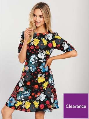 Very Ruched Sleeve Tea Dress - Print