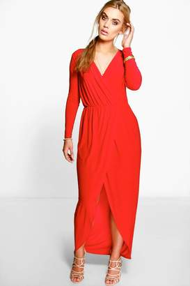 boohoo Plus Slinky Wrap Front Maxi Dress