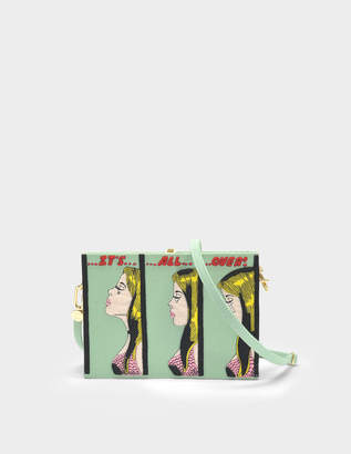 Olympia Le-Tan Olympia Le Tan It's All Over Book Clutch with Strap in Almond Green Cotton and Brass