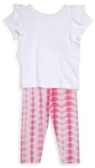 Splendid Baby Girl's Two Piece Ruffle Top & Tie-Dye Leggings Set