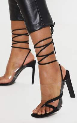 e50205514f82 PrettyLittleThing Black Clear Ankle Tie Toe Loop Sandal