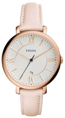 Fossil 'Jacqueline' Leather Strap Watch, 36mm