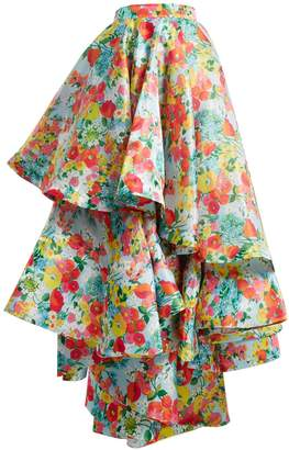 RICHARD QUINN Floral-print asymmetric tiered skirt