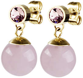 Dyrberg/Kern Bess Small Semi-Precious Stone and Swarovski Crystal Round Drop Earrings, Gold/Pink