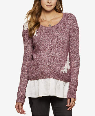 Jessica Simpson Maternity Lace-Trim Layered-Look Sweater