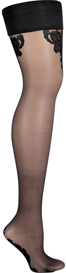 Fogal Black/Black Chouchou Stay Up Thigh-High Stockings