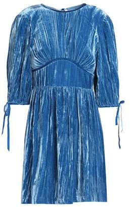 Alexa Chung Woman Bow-embellished Pleated Velvet Mini Dress Blue Size 8 AlexaChung k8Gk0Wxm