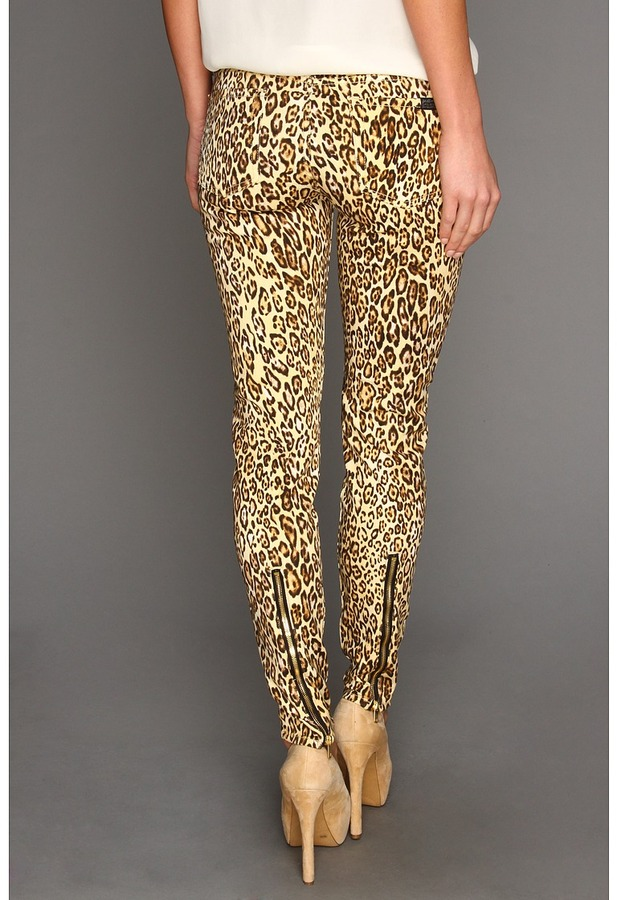 7 For All Mankind The Slim Cigarette w/ Zips in Cheetah Print (Cheetah Print) - Apparel