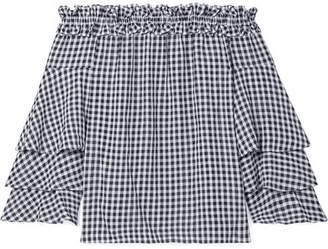 Michael Kors Ruffled Off-the-shoulder Gingham Georgette Top - Black