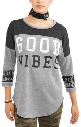 No Boundaries Juniors' Varsity Stripe Graphic 3/4 Sleeve Crewneck T-Shirt