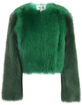 Cropped Color-Block Shearling Coat