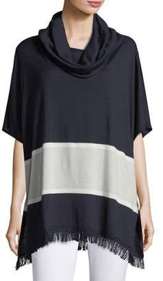 Neiman Marcus Cashmere-Blend Striped Cowl-Neck Poncho
