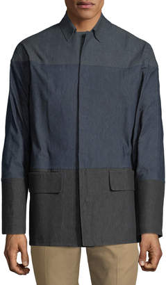 Valentino Men's Colorblocked Chambray Shirt Jacket