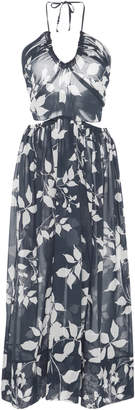 Lila Eugenie Ruched Floral Midi Dress