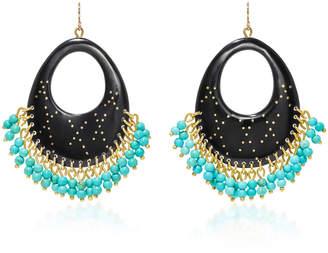 "Ashley Pittman Vuka Horn"" Bronze and Turquoise Earrings"