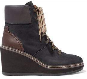 See by Chloe Leather-Paneled Nubuck Wedge Ankle Boots