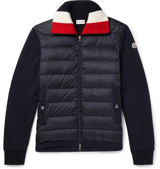 Moncler Panelled Fleece-Back Cotton-Jersey And Quilted Shell Down Jacket